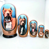 "Pitbull Nesting Doll Red Nose Pit Set 4""Tall"