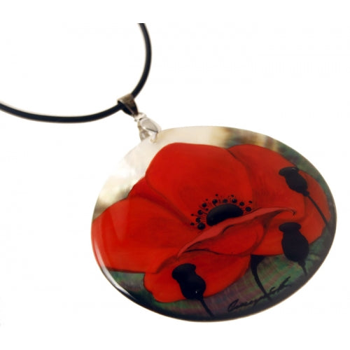 Red Poppy Hand Painted Pendant