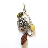 Rose Pendant in Sterling Silver & Natural Amber