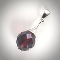 Diamond Cut Cherry Amber & Sterling Silver Round Pendant