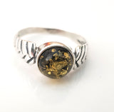 natural green amber ring in silver