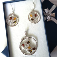 Modern Round Silver Pendant with Flower & Earrings Set