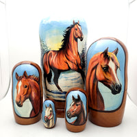 "buyrussiangifts-store - Running Horse Nesting Doll 5 piece 7"" Tall Set - BuyRussianGifts Store - Nesting doll"