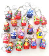 nesting doll russian wood keychain
