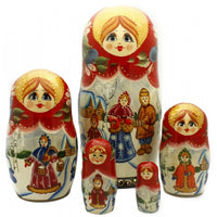 buyrussiangifts-store - Russian Family at the Winter Village - BuyRussianGifts Store - Nesting doll