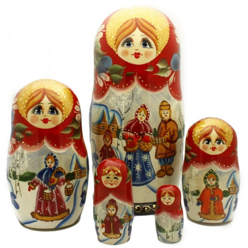Russian Family at the Winter Village