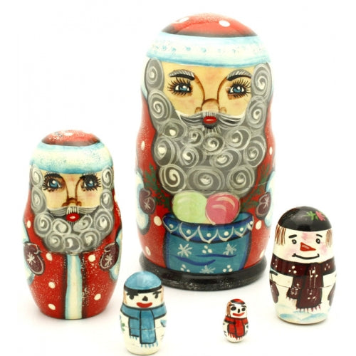 buyrussiangifts-store - Santa and Snowman Matryoshka Set - BuyRussianGifts Store - Nesting doll
