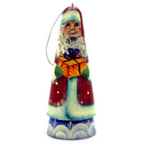 Santa with Present Hand Painted Russian Christmas Ornament