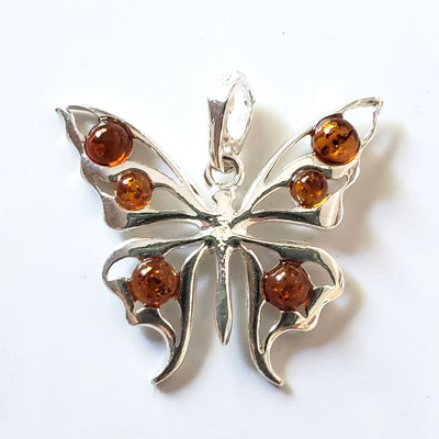 honey amber butterfly silver pendant