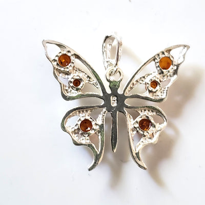silver butterfly amber charm