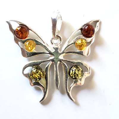 multicolor amber beads butterfly pendant