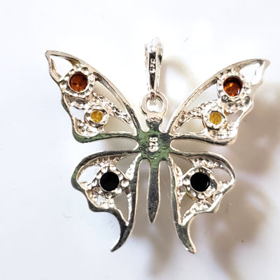 silver amber butterfly pendant