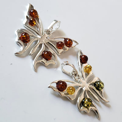 sterling silver amber butterfly pendant