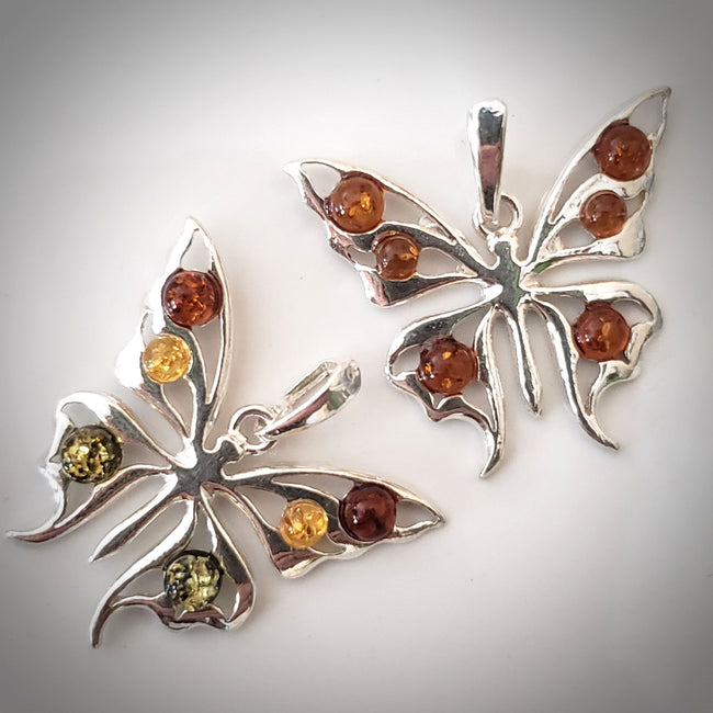silver amber butterfly pendant necklace