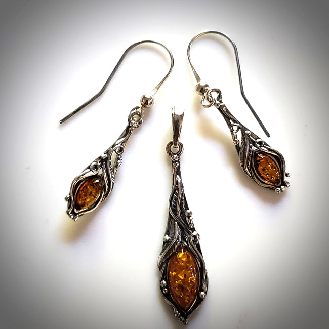silver amber classic jewelry set