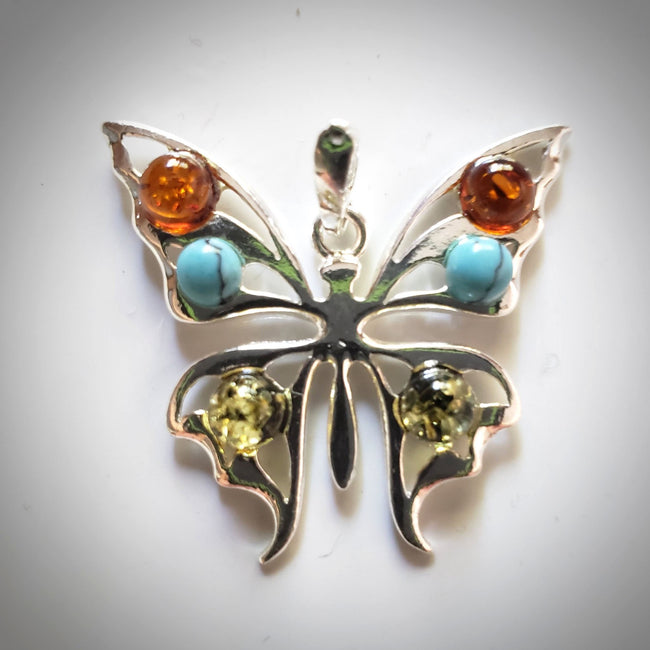silver amber turquoise butterfly pendant necklace