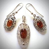 Sterling Silver Filigree Oval Pendant Earrings Set