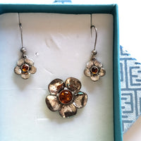 silver flower earrings pendant set in gift box
