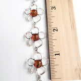 Silver Flower with Natural Amber Link Bracelet