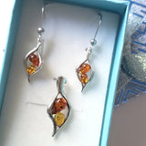 small silver amber jewelry set