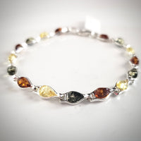sterling silver natural multicolor amber small link bracelet
