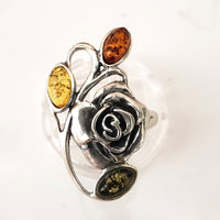 sterling silver rose ring with amber