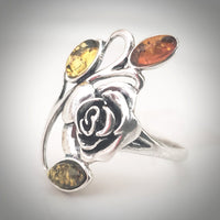 silver rose amber leaves floral ring
