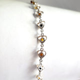 Multicolor Hearts Amber with Silver Link Bracelet