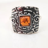 aztec jewelry silver ring with amber