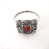 large silver square ring with amber
