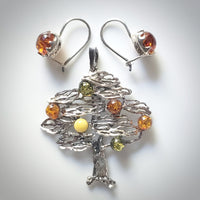 silver amber tree of life jewelry set