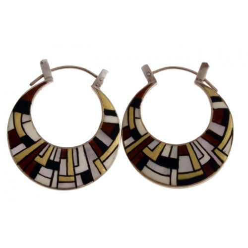 Silver Hoops Hand Painted Mother of Pearl Earrings Klimt