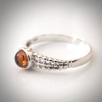 Small Sterling Silver Natural Amber Ring