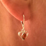 silver dangle hearts earrings