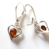 silver amber heart earrings