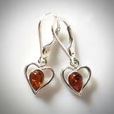 small heart dangle silver earrings