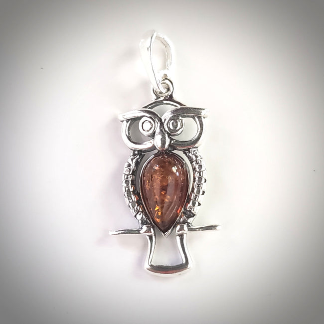 small owl silver amber pendant