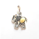 silver elephant necklace with amber