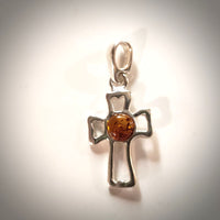 small sterling silver cross with amber