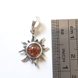 silver amber sun necklace