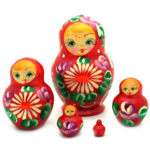 Red with Daisy Nesting Doll