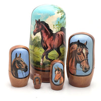 "buyrussiangifts-store - Horse in Summer Nesting Doll 5 piece set 4""Tall - BuyRussianGifts Store - Nesting doll"