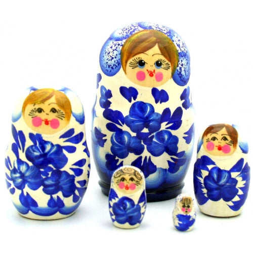 Small White Blue Nesting Doll Set