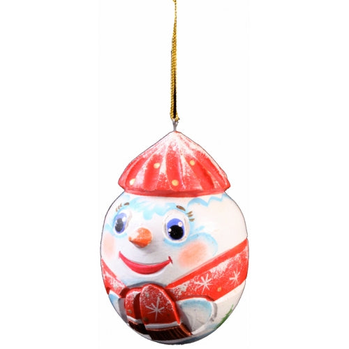 Snowman in Red Hand Carved Christmas Ornament