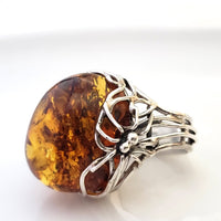 spider on web amber silver statement ring