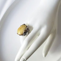 spider web butterscotch amber silver ring