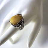 spider web butterscotch amber silver  large ring