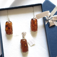rectangular amber silver jewelry set