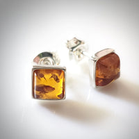 square amber silver stud earrings for kids and adults