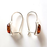 square silver hoop earrings with oval amber